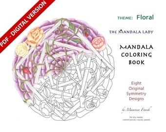 Floral DIGITAL Mandala Coloring Book - PDF VERSION