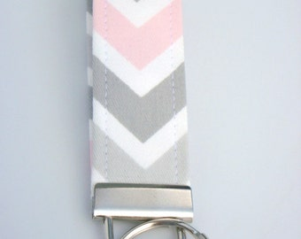 Wristlet Key Fob / Key Chain -Chevron / Bella - Gray, Light Pink, White