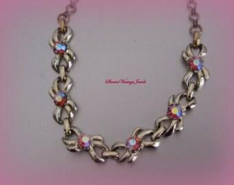 Rhinestone Necklace 1950s Glitzy Jewelry Autota Borealis Pink stones