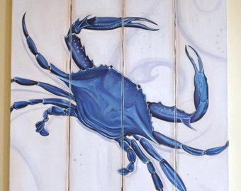 8x10 Coastal Art Crab Distressed Chesapeake Annapolis Blue Crab Print on 1.5 inch wide profile canvas Home Decor Coastal Sign Painting
