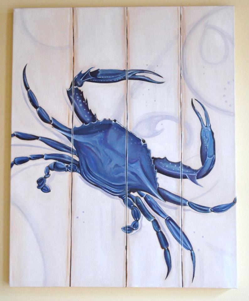 8x10 coastal art crab distressed chesapeake annapolis blue for Tattoo shops in annapolis
