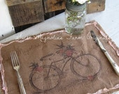 Burlap Table Placemats - Kitchen Bicycle  Birds Pink Floral Garden  Rustic Farmhouse Romance Country Cottage Chic