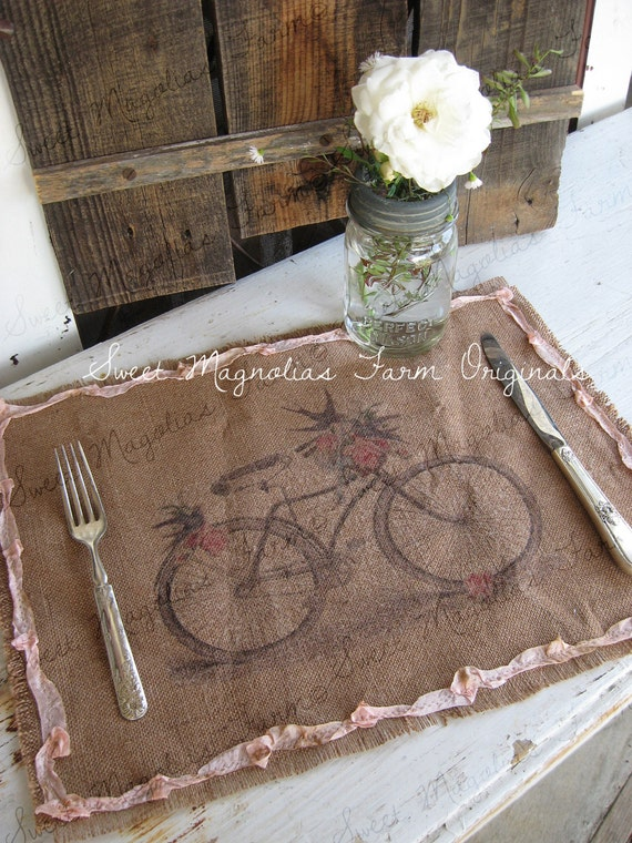Items Similar To Burlap Table Placemats Kitchen Bicycle