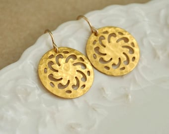 gold flower earrings, yoga, dainty earrings, LOTUS,  gold filled everyday wear minimalist earrings with vintage hammered brass round disks