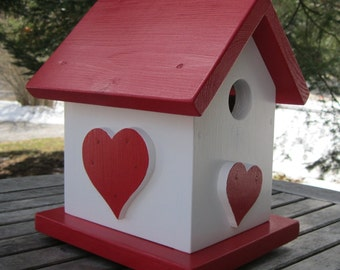 Birdhouse, Red and White with Hearts