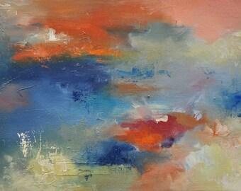 """Autumn Garden Original abstract painting, modern wall art 12x16"""""""
