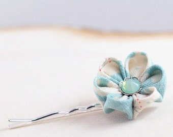 Sky blue bobby pin, cherry hairpin, sakura, aqua, blue and white, kanzashi, women, girls, clouds, UK, handmade