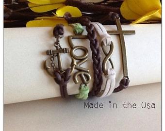 Sideways Cross, Infinity, Love and Anchor Bracelet, Charm bracelet, Friendship bracelet, Faith bracelet