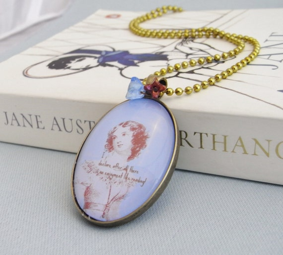 Jane Austen quotation pendant, reading, literature, bibliophile, library, regency, quote pendant, book lover gift