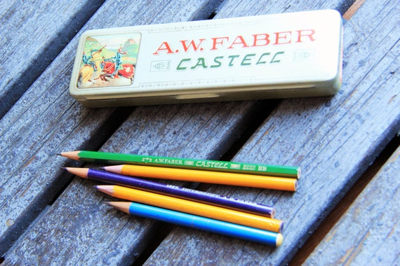 Vintage tin pencil box - 1940s  - A.W. Faber Castell -  ohtteam rusteam europeanstreetteam - Free Worlwide Shipping