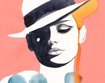 PRINT / White Hat and Blue Dots / 11x15