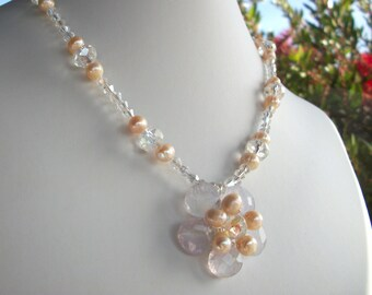 Wedding necklace, white flower jewellery, pearl bridal flower necklace wire wrap flower with clear crystal