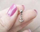 Tiniest Anchor Tragu Stud 16g 16 G Gauge Post Earring Cartilage Piercing Nautical Charm Dangle Barbell Bar
