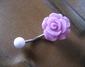 Lavender Rose Belly Button Ring- Navel Piercing Jewelry Rosebud Flower Bud Barbell Bar Stud Purple