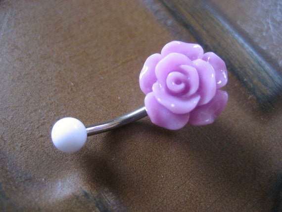 Lavender Rose Belly Button Ring Navel Piercing Jewelry