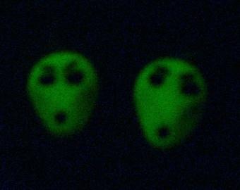 Glow In The Dark Alien head Earrings - polymer clay