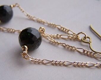 gold niobium emerald green goldstone long dangle earrings for sensitive ears - handmade by Variya