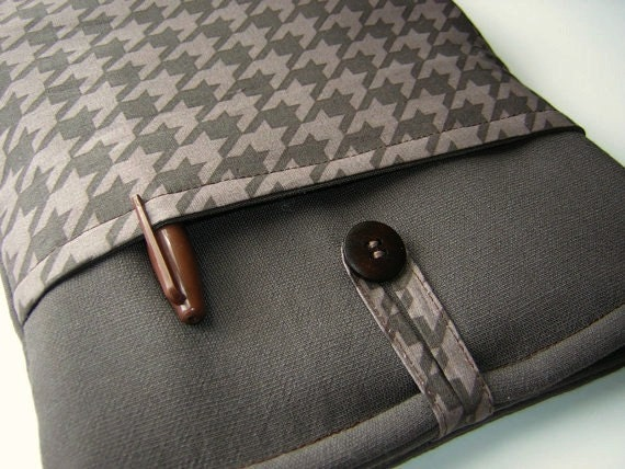 Houndstooth iPad Air Pocket Case, i Pad sleeve, Surface Pro 2 Ttablet, Mens or Womens Surface  RT Cover, Brown