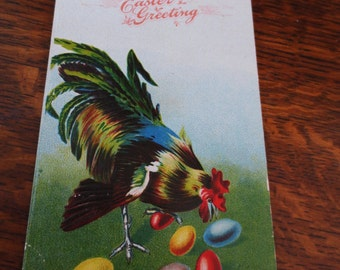 Postcard- Antique Rooster Easter Greetings with eggs