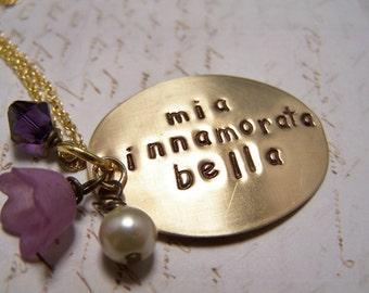 Italian Necklace... Mia Innamorata Bella.... My Beautiful Sweetheart... Love Friendship Soulmate