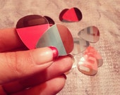 Retro Color-block Guitar picks - upcycled/recycled from old gift cards - 10 ct