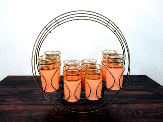 Vintage Mid Century Set of 8 Cocktail Glasses with Caddy