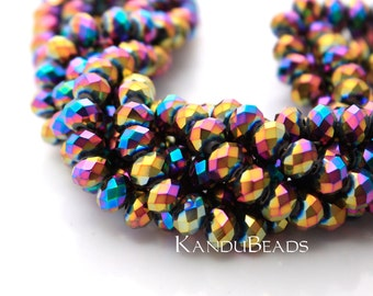 "Rainbow Aurora Borealis (AB) Color Faceted crystal roundel beads 4x6 mm 15"" strand"