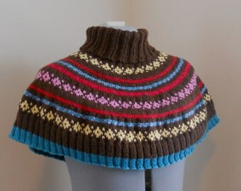Knitting Pattern PDF - Fair Isle Turtleneck Cape