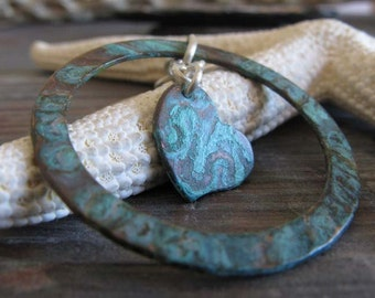 Patina copper verdigris hoop earrings. Small dangling hearts. Artisan handmade gift for valentines. Rustic Swinging Hearts. Turquoise