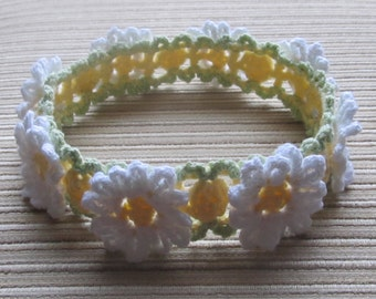 Crochet Pattern #101 White and Yellow Daisies  Headband for a Girl