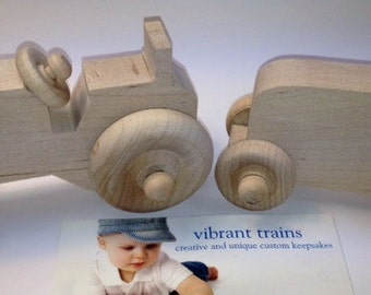 Farm Tractor and Trailer SET to ADD to your Custom Hand Painted Name Train Keepsake by Vibrant Trains
