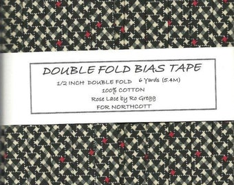 Double Fold Bias Tape in Black, White and Rosy Red - ROSE LACE by Ro Gregg For Northcott - Handmade