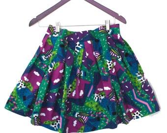 80s Cotton Pleated Mini Skirt playful Print, Vintage Skirt Short Length Multi Color Cotton Sateen Med Lg 30 31 in. waist