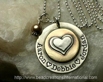 Hand Stamped Necklace - Sterling Silver and Brass Double Stacked Hearts with Three Names