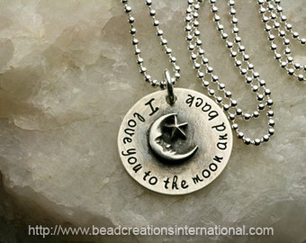 NEW Sterling Silver I Love You To The Moon and Back with Soldered Moon and Star Charm Hand Stamped Necklace