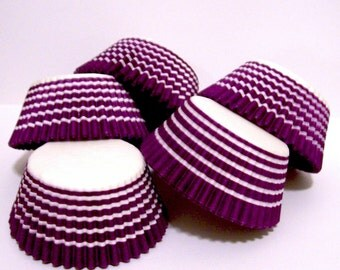 Purple Circle Stripe Cupcake Liners- Choose Set of 50 or 100