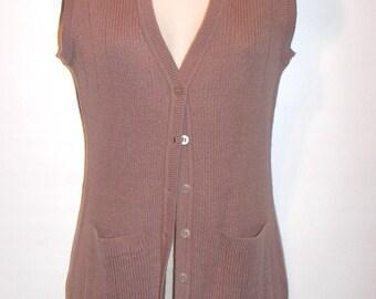 Vintage Sweater Vest Cardigan - Gimbels Sleeveless Cardigan - Rose Taupe - Size Medium