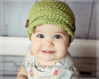 Baby Newsboy Hat, Crochet Baby Hat, Chunky Newsboy, wood buttons