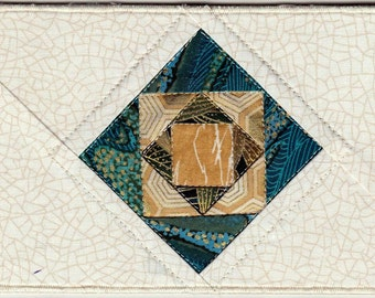 Quilted Fabric Postcard, Square in a Square Card, Quilters Postcard