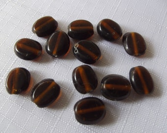 10 PCS  Brown 13x15 mm oval Glass Lampwork Beads...Jevelry Making Beads
