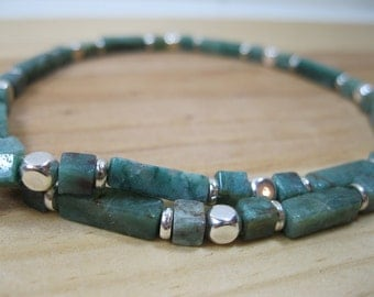 African Jade and Silver Necklace, Mens Beaded Necklace, Womens Beaded Necklace, Mens Choker, Jade Necklace, Mens Necklace