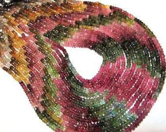 Half strand AAA Watermelon tourmaline faceted rondells half strand