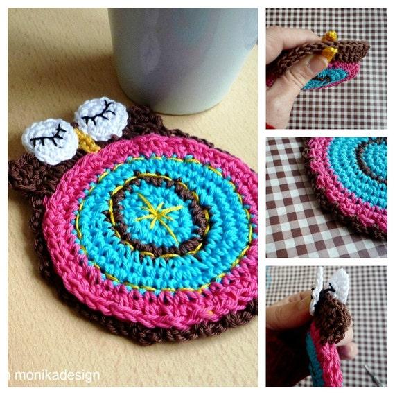 Crochet Owl Rug Pattern: Crochet Coaster Pattern