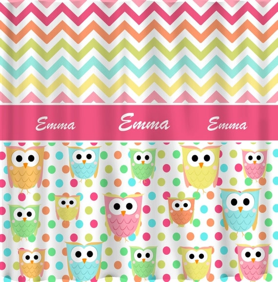 Personalized CUSTOM OWL And Chevron Shower Curtain By Redbeauty