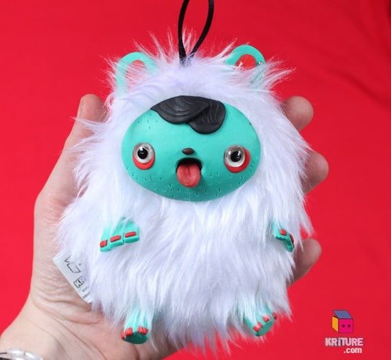 Hipster Yeti Plush Monster Squeaky Toy Funny Softie plushie Creature - White fur,  teal skin - Kriture no.99