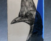 Hand Painted Cassowary Portrait Wall Tile Blue