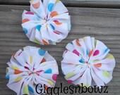 PaRTY DoT CHiFFoN TWIRL Flowers 2.5 inch- Set of 3