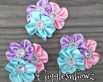 MiNI SiZE Set of 3 Embellished Satin CLuSTeR Flowers- PaSTeLs-1.75 inch Size