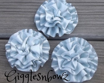 Set of 3 Beautiful SiLVeR BeLLS Satin Rosettes Puff Flowers