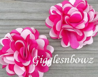 NEW Set of TWO Beautiful Small Satin Puff Flowers- Pink and Shocking Pink